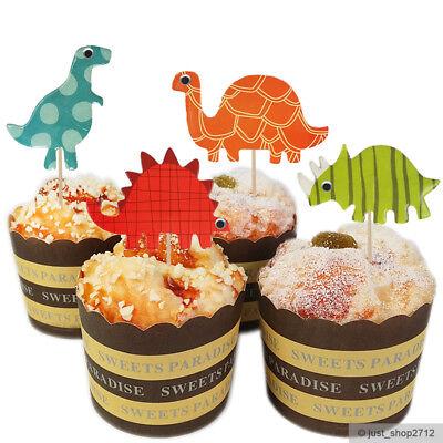 24 Dinosaurier Dino Toppers Topper Cupcake Kinder Geburtstag Muffin Kuchen Deko (Kinder Geburtstag Kuchen Topper)