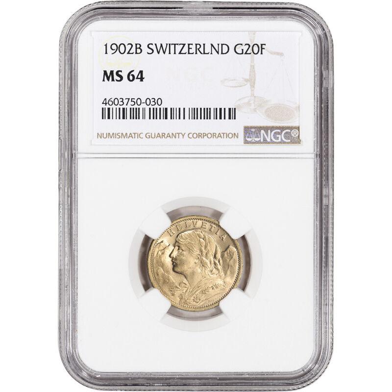 1902 B Switzerland Gold 20 Francs - NGC MS64