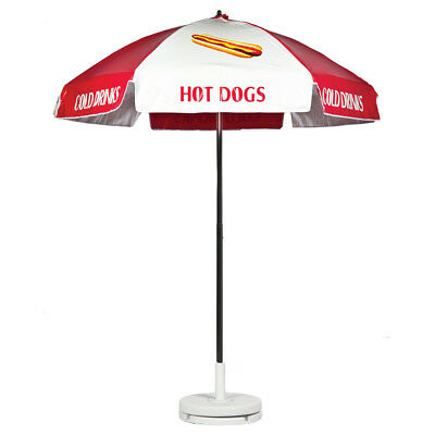 Hot Dog Vendor Cart Concession Umbrella Red White