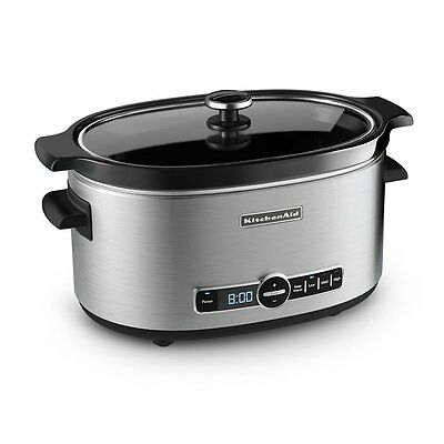 Slow Cooker Crock Pot KitchenAid Digital Oval Home Dining Glass Lid Ceramic 6-Q
