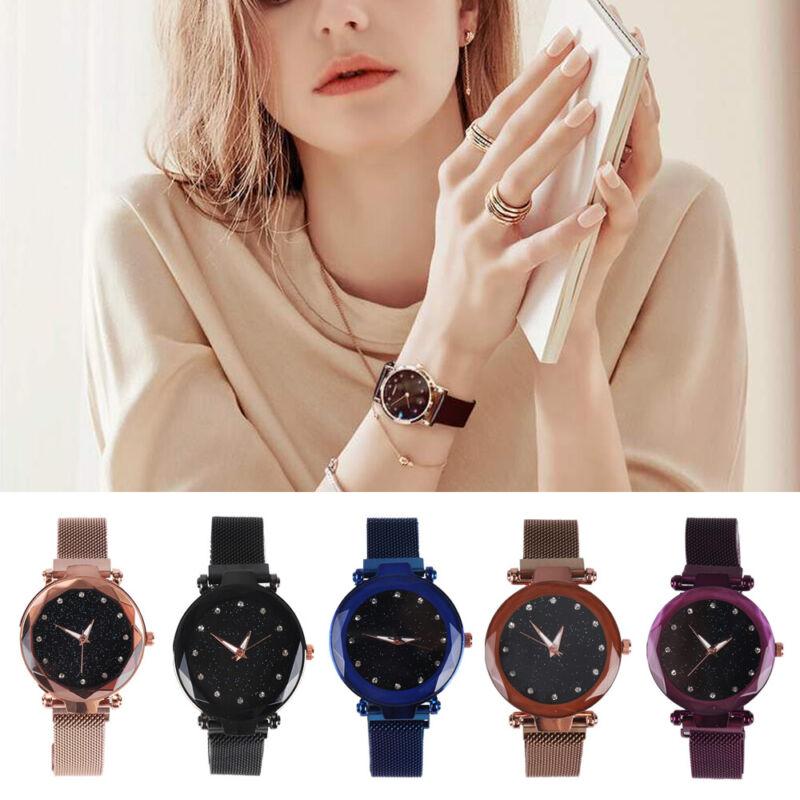 Damen Uhr Sternenhimmel Uhr Wasserdicht Magnet Armband Luxusuhr Quarz Zifferblat