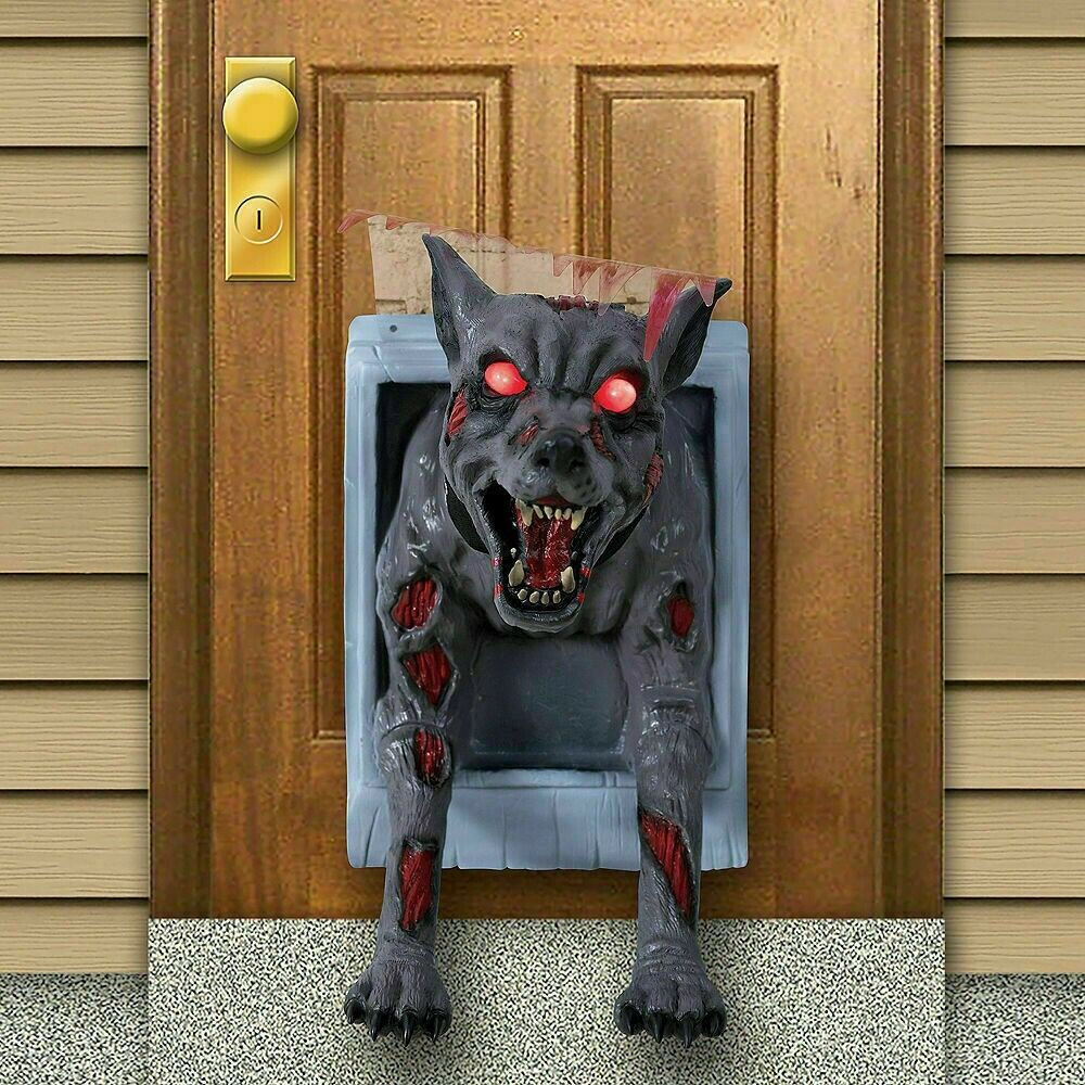 Animated Feral Doggy Dog Door Halloween Haunted House Prop