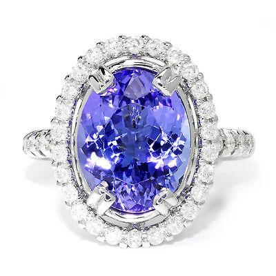 Ctw Diamond Tanzanite Gold Jewelry - GIA Certified Tanzanite Oval Halo Ring with Diamonds 18K White Gold 6.98ctw