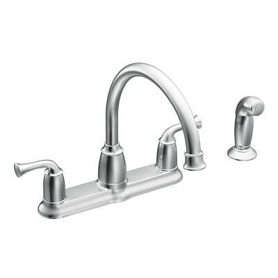 MOEN Banbury 2-Haft Mid-Arc Standard Kitchen Faucet w/Side Sprayer in Chrome