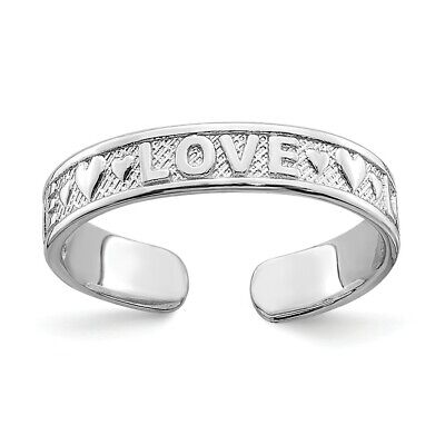 14k 14kt White Gold  Polished LOVE & Hearts Toe Ring 14k Love Toe Ring