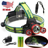 CREE 30000LM Headlamp XM-L 3 x T6 LED Headlight 18650 Light Charger Battery USA