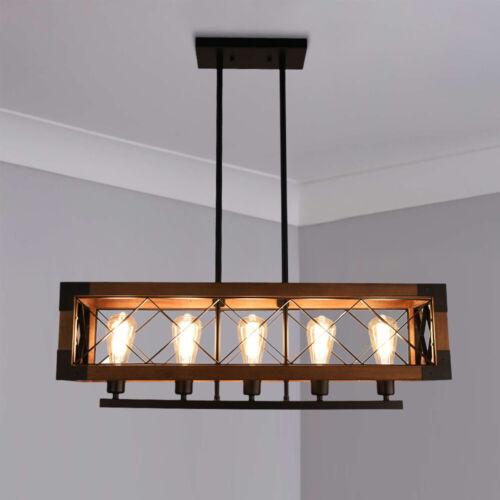 Vintage Linear 5-Light Wooden Chandelier Rectangle Kitchen I