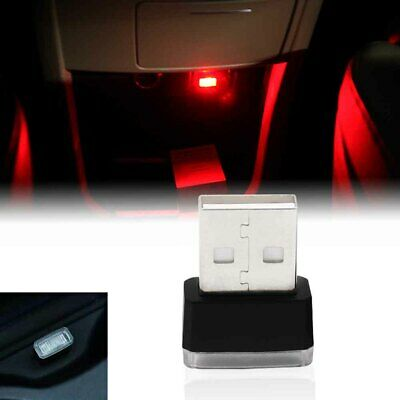 Universal Red USB Plug-In Miniature LED Car Interior Extra Ambient Lighting Kit