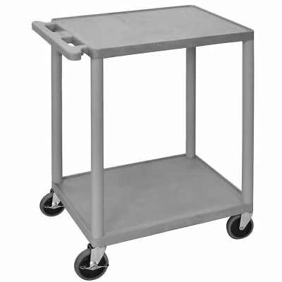 Luxor Grey Plastic 2-shelf Utility Cart - 24l X 18w X 33h