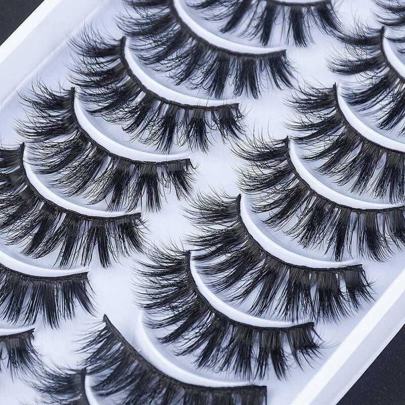 10 Pairs Mink False Cross Fluffy Extension Lashes