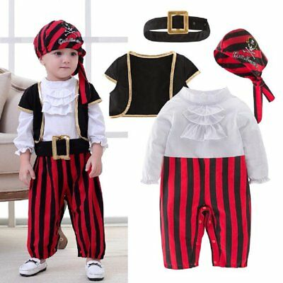 Baby Boy Girl Carnival Pirate Captain Costume Outfit Cloth Fancy Dress Cosplay (Baby Girl Pirate Halloween Costumes)