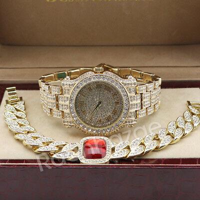 Hip Hop 14K Gold Simulated Diamond Watch Ruby Cuban Chain Bling Bracelet Set F47