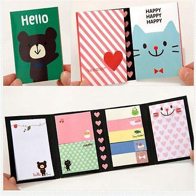 4pcs Portable Lovely Sticker It Marker Sticky Flags Note Memo Bookmark Pad Funny