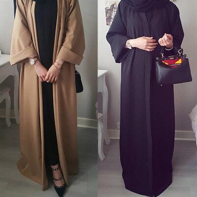 Islamic Women's Open Abaya Muslim Long Maxi Cocktail Dress Dubai Cardigan Kaftan