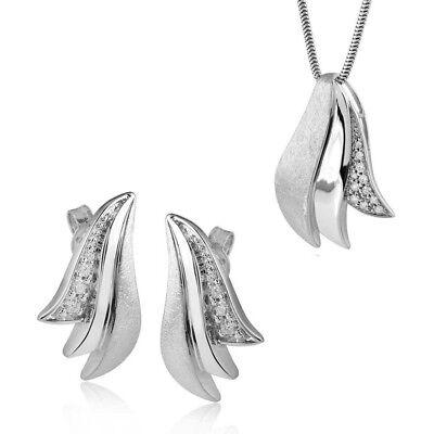 MATERIA Silberkette + 925 Silber Zirkonia Ohrstecker Blatt & Anhänger mattiert