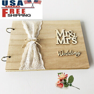 Mr&Mrs Wedding Guest Book Personalized Rustic Wooden Signature Guestbook Photo