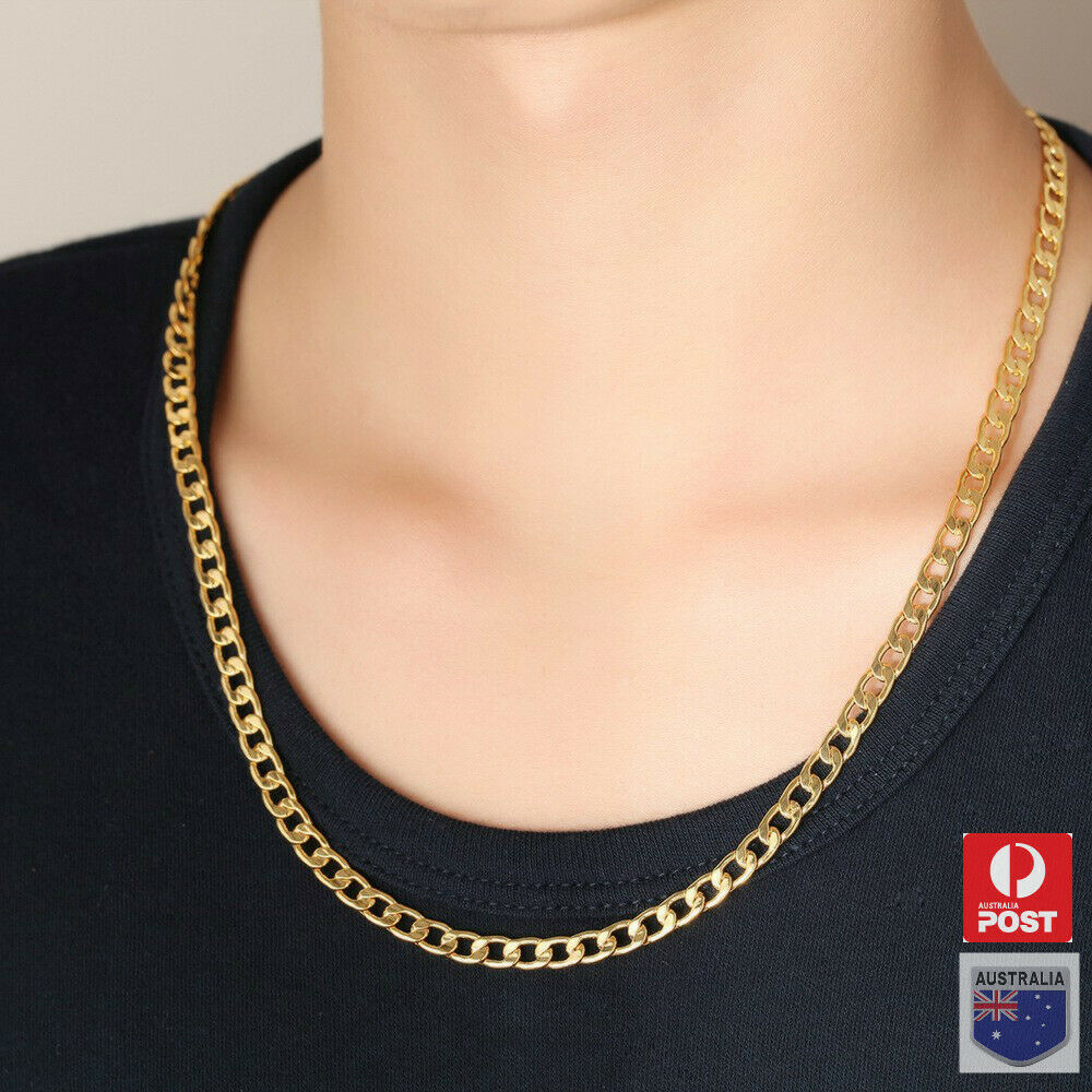 Jewellery - Men's Boy Stainless Steel 18K Gold GP Curb Cuban Link Chain Necklace Jewelry
