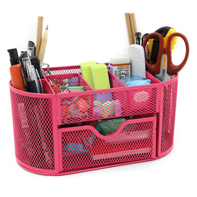 Mesh Desk Organizer Pencil Holder Office Supplies Desktop Organizer With Drawer