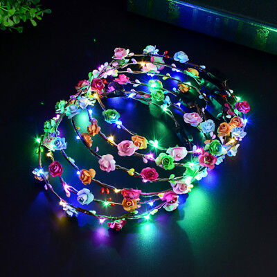 LED Flower Floral Hairband Garland Crown Glowing Wreath Wedding Party Headband - Flower Hairband