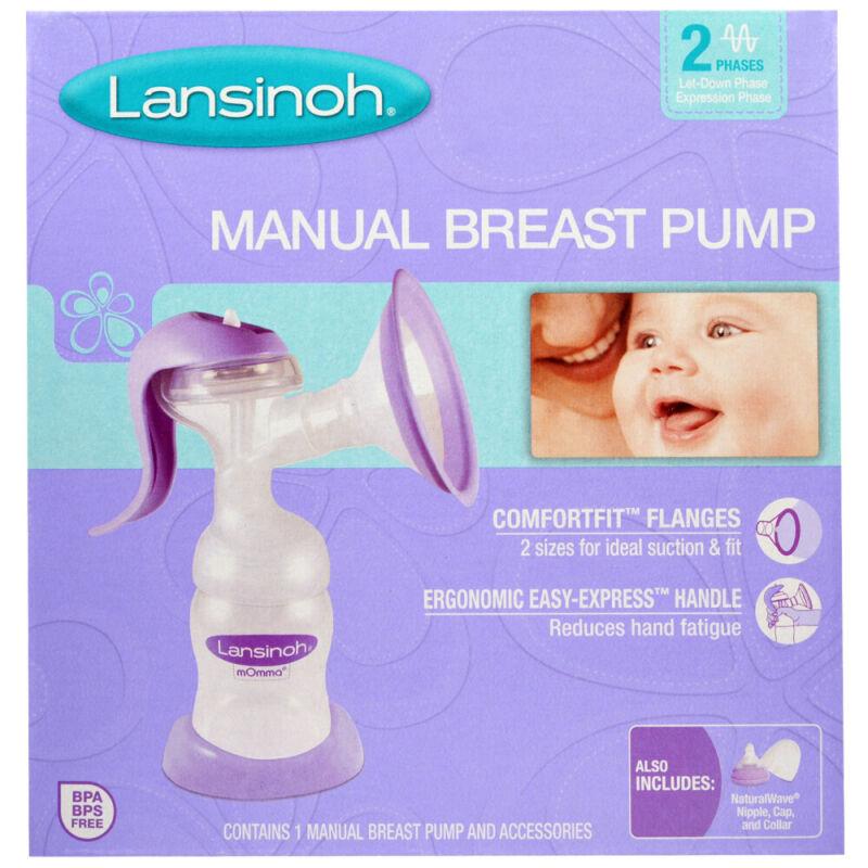 Lansinoh Manual Breast Pump Set Ergonomic Easy Handle (New Condition Open-Box)