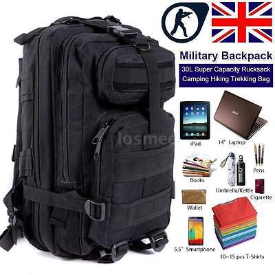 30L Military Tactical Backpack Molle Rucksacks Camping Trekking Bag Black