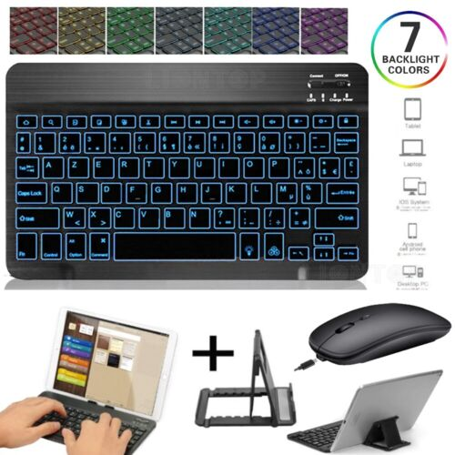 Backlit Bluetooth Keyboard Mouse Set For iPad 7th 10.2 Air Pro 9.7 11 12.9 2020