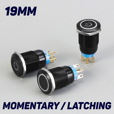 19mm Metal Black 12v Led Power Symbol 5pin Momentary Car Push Button Switch