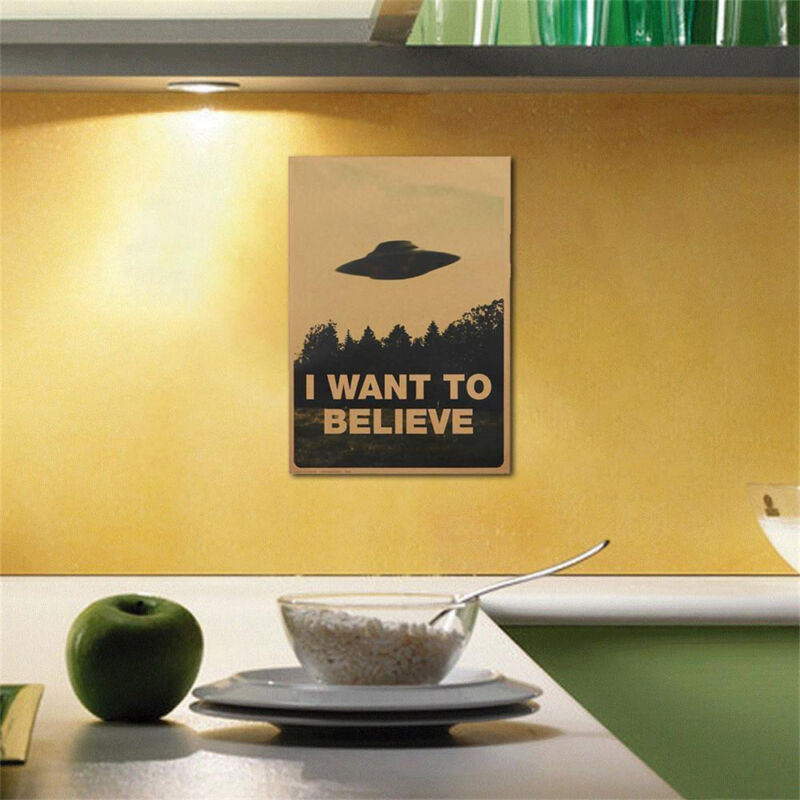 """Vintage Classic Wall Stickers X FILES /""""I Want To Believe/"""" Poster Home Decor DIY"""