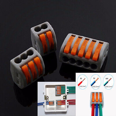 5pcs 235pin Reusable Spring Lever Terminal Block Electric Cable Connector Wire