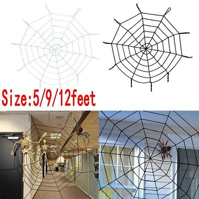 Giant 5/9/12Ft Halloween Horror Rope Spider Web Outdoor Decor Black/White j-c