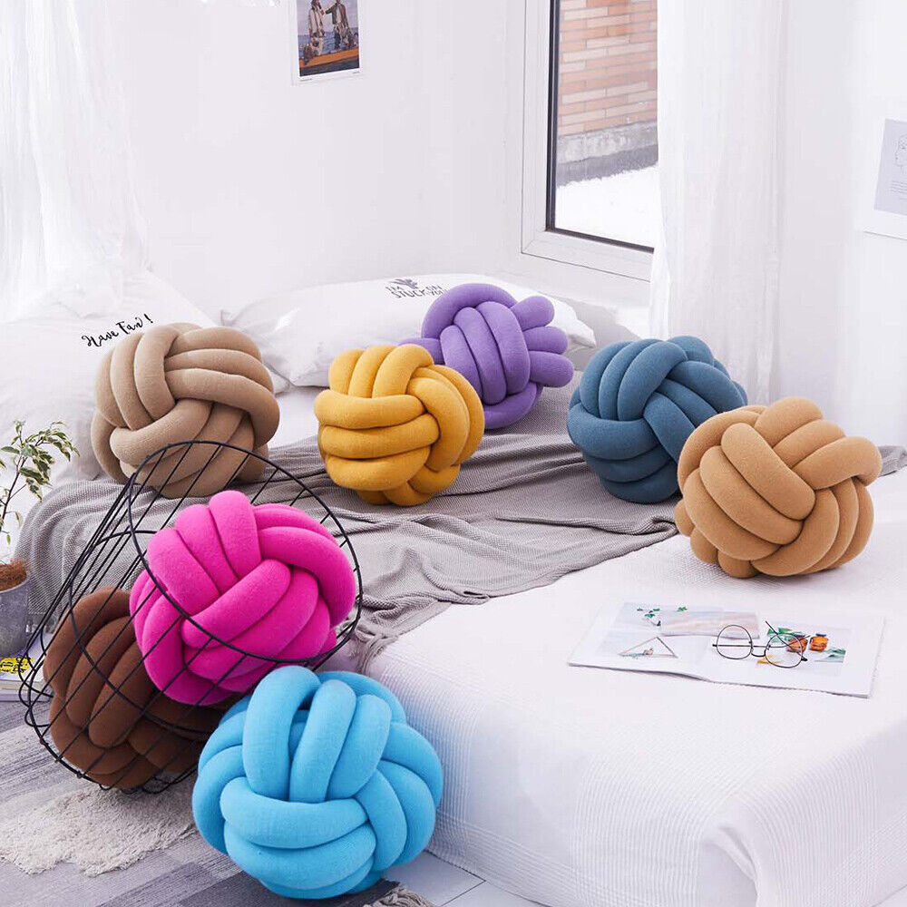Round Cushion Crocheted Knot Ball Pillows Cojines Kids Room