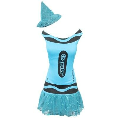 BLUE LADIES CRAYOLA CRAYON COSTUME WOMENS WORLD BOOK DAY OFFICIAL FANCY DRESS