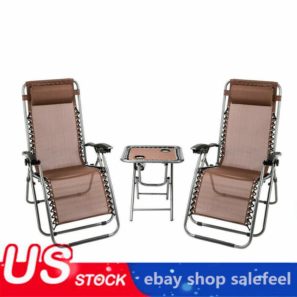 2 Leisure Chair Folding Recliner Lounge Chair Brown W/ Porta