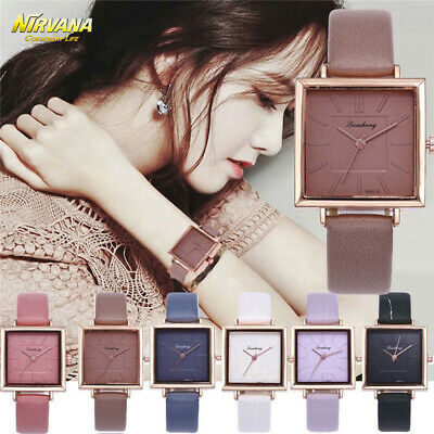 Women Fashion Leather Band Analog Quartz Square Quartz Wrist Watch Watches