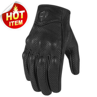 Mens Black Perforated Pursuit Street Stealth Leather Motorcycle Gloves M/L/XL/XX - New Mens Motorcycle Gloves