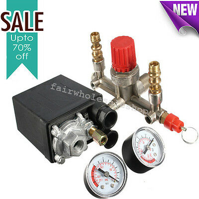 Air Compressor Pressure Control Valve Switch Manifold Relief Regulator Gauges A