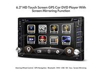"6.2"" Double Din HD Touch Screen Car Stereo GPS SatNav DVD USB SD Player With Phone Screen Mirroring"