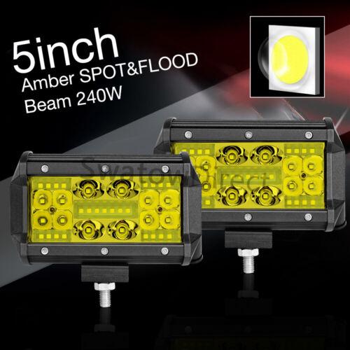 Car LED Pods 2x5inch 240W Work Light Bar Backup Reverse Pickup SUV ATV Quad Row