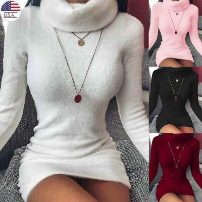 Women Bodycon Turtleneck Sweater Mini Dress Knitted Long Sleeve Pullover USA