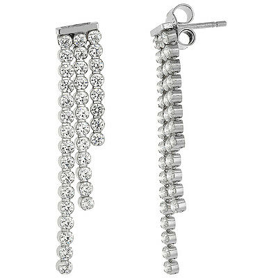 Sterling Silver 2.4mm Cubic Zirconia Stones Triple-strand Dangle Earrings Cubic Zirconia Strand Earrings