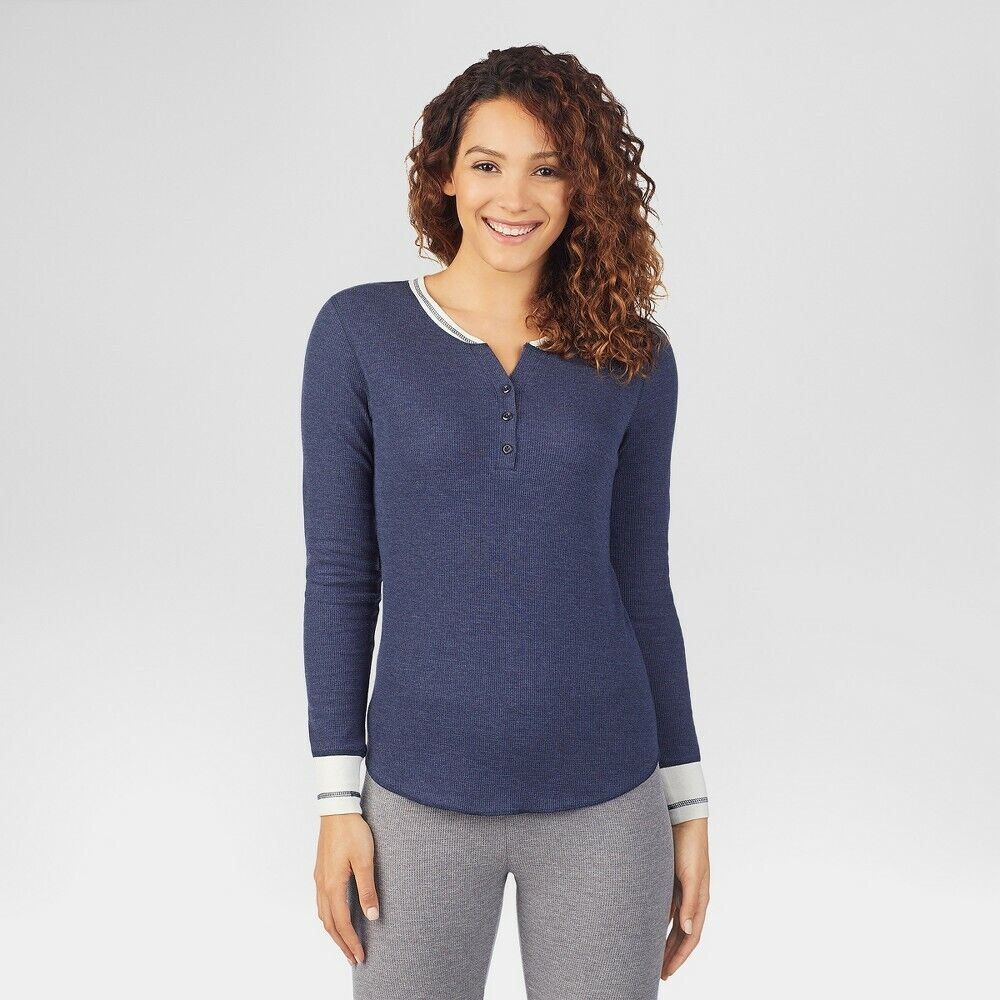 Warm Essentials by Cuddl Duds Women's Waffle Thermal Shirts – Blue Heather M Clothing, Shoes & Accessories