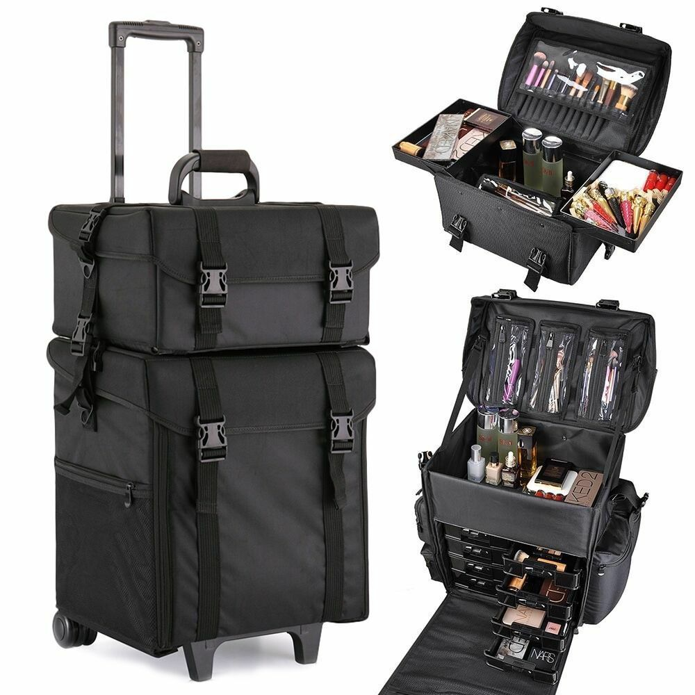 Makeup Cosmetic Case 2 in 1 Beauty Trolley Artist Rolling Bag Storage Organizer