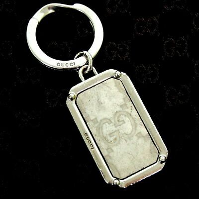 Gucci Authentic Vintage GG Guccissima Silver Tone Sima Keyring Boxed + Dustbag