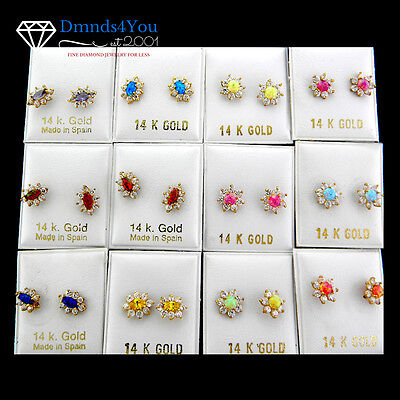 Wholesale 12 Pairs Assorted 14K Yellow Gold Colored Stones Earrings  EN23-1926