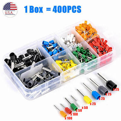 400pcs Wire Crimp Connector Cable Cord Pin End Bootlace Ferrule Terminal Kit