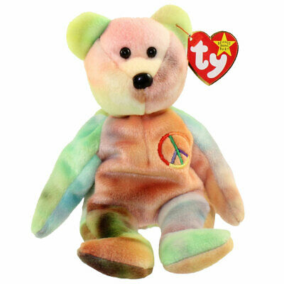 Rare Ty Beanie Baby 'Peace Bear' Original Collectible with T