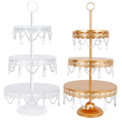 Metal 3 Tier Stand (3 Tier Round Cake Stand Metal Wedding Birthday Display Dessert Cupcake)