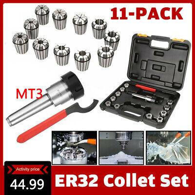 Precision ER32 Collet Set MT3 Shank Chuck & Spanner + Box For Milling Machine US