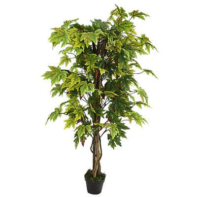 Ahorn Ahornbaum Kunstbaum Künstliche Pflanze mit Echtholz 130cm Decovego