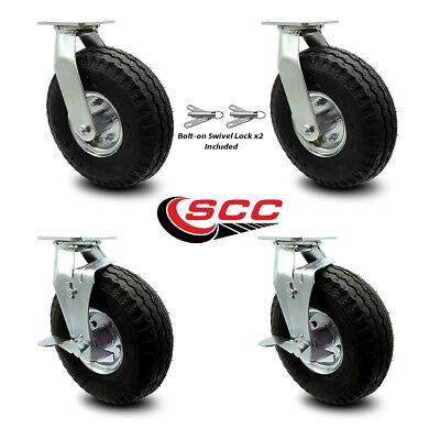 Scc 10 Pneumatic Wheel Caster - 2 Swivel Wbolt On Swivel Locks2 Wbrk - Set 4